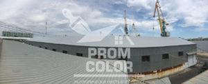 Астрахань крыша склада Рокселл после покраски. Цвет Серый.